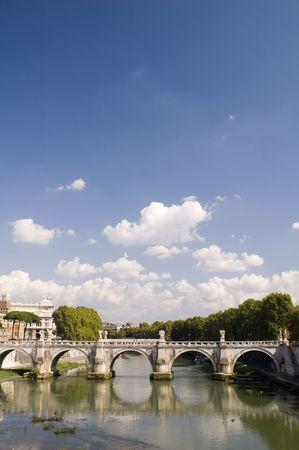 Italy - Older bridge and Rome river  photo