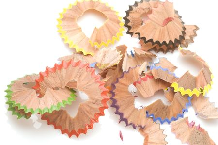 object on white - Shavings from pencils Stock Photo - 3910813