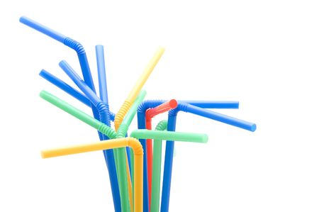 object on white - utensil drinking straws photo