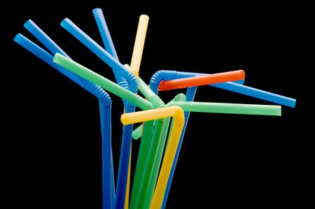 object on black - utensil drinking straws Stock Photo - 3919234