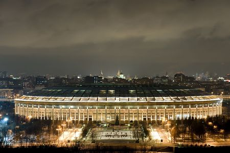 architector: Russia moscow olympic stadium in the night Editorial