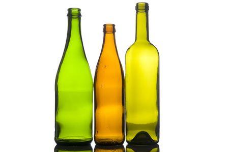 object on white - Three empty bottle photo