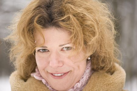 bontjas: portret - vrouw in de bontjas Stockfoto