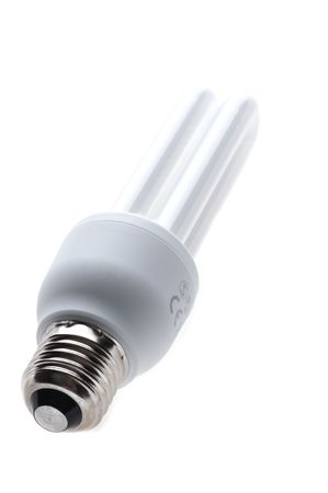 object on white - compact florescent light bulb