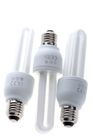 florescent light: object on white - compact florescent light bulb  Stock Photo