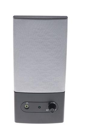 object on white - black desktop speakers photo
