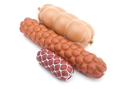 object on white - food boiled sausage photo