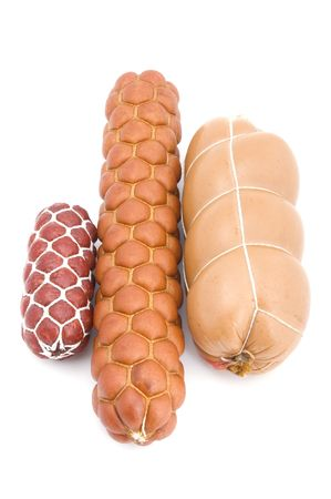boiled sausage: object on white - food boiled sausage