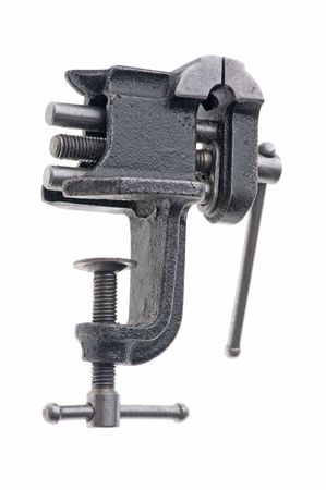 vise: object on white - tool bench vise  Stock Photo