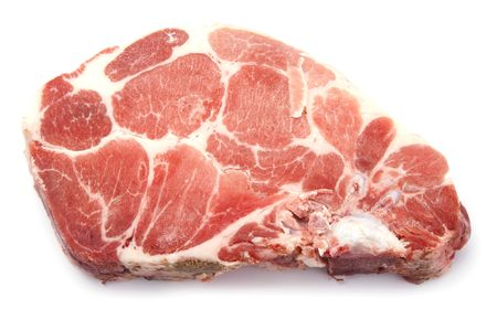 object on white - food raw pork rib photo