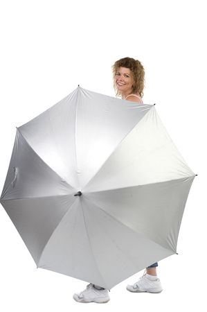 object on white - sports woman with umbrella Stock Photo - 5275405