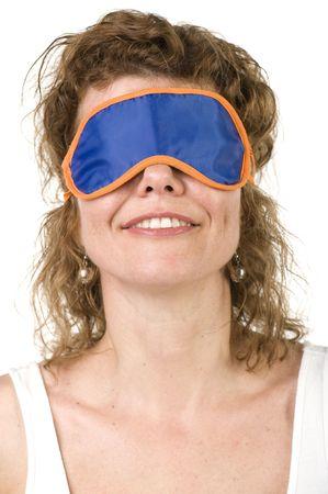 object on white - Girl on mask for sleep photo