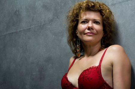 brassiere: people on grey wall - Portrait woman in brassiere