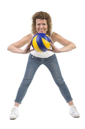 liesure: object on white - sports woman with ball