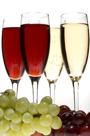 object on grey - champagne glasses with grapes