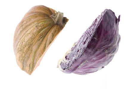 object on white - raw food pumpkin and cabbage photo
