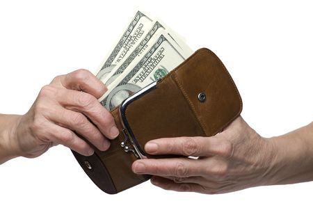 object on white - money on hand Stock Photo - 6122103
