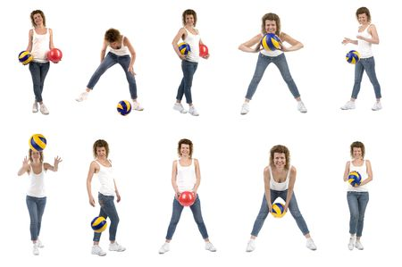 object on white - sports woman with ball photo