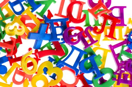 object on white - toy plastic letters and numbers Stock Photo - 6593262