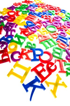 object on white - toy plastic letters and numbers Stock Photo - 6593257