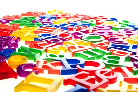 object on white - toy plastic letters and numbers Stock Photo - 6593258