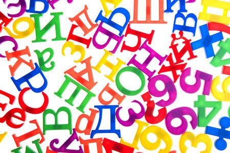 object on white - toy plastic letters and numbers Stock Photo - 6593260