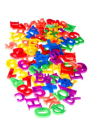object on white - toy plastic letters and numbers Stock Photo - 6593253