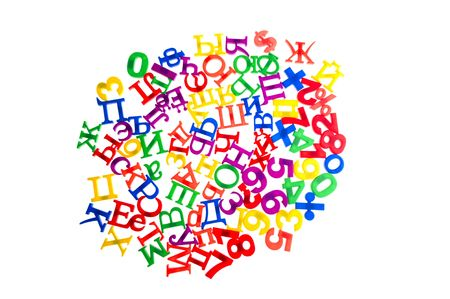 object on white - toy plastic letters and numbers Stock Photo - 6593254