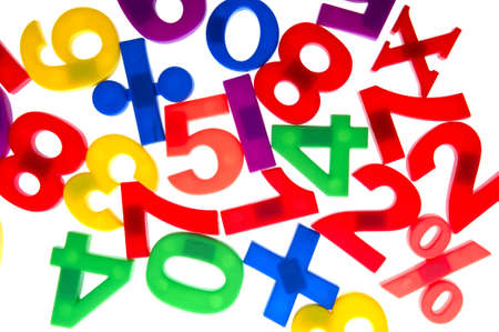 object on white - toy plastic numbers Stock Photo