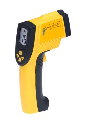 infra red: object on white - tool measuring instrument infra red thermometer