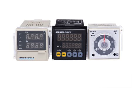 temperature controller: object on white - tool temperature controller Stock Photo