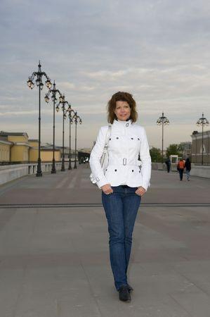 portrait Russian people - women on the foot bridge photo