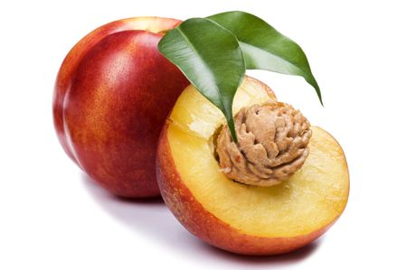 object on white - food peach close up Stock Photo