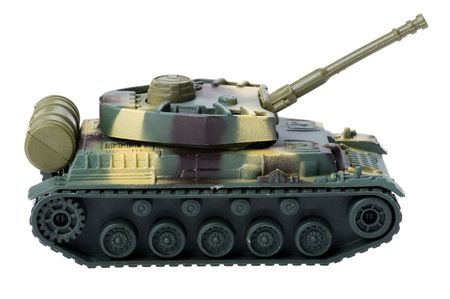 armored: object on white - toy tank close up