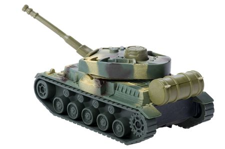 object on white - toy tank close up photo