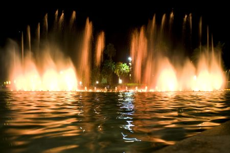 spain salou city fountain in the night photo