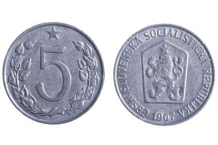 czechoslovakia: object on white - Czechoslovakia coins close up