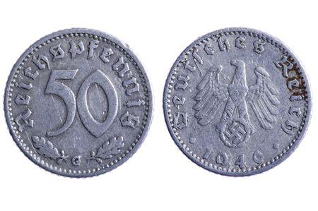 reich: object on white - Deutches reich coins macro