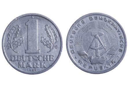 object on white - Deutsche mark coins close up photo
