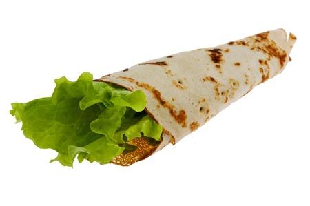 object on white - food pancake close up photo