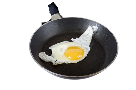 object on white - pan fried close up photo