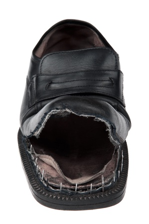 object on white - Damaged old shoes Stock Photo - 8630615