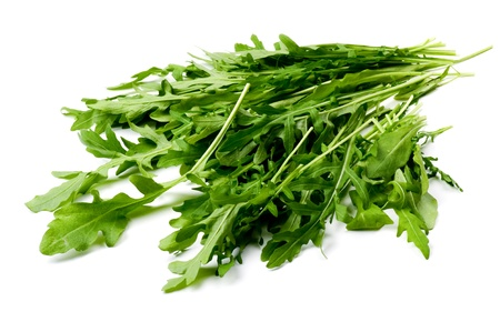roquette: object on white - food arugula close up