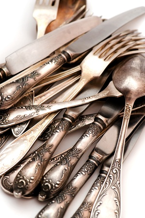object on white - vintage silver spoon Stock Photo