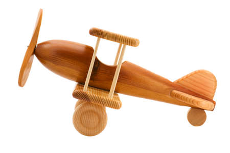 brinquedo: object on white - wooden toy airplane  Imagens