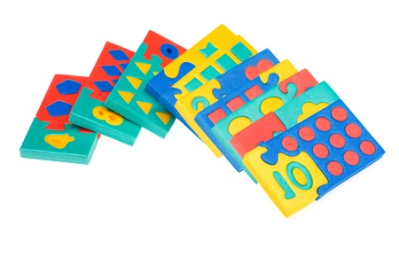 object on white - arithmetic learning game close up photo