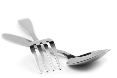 cuchara y tenedor: objeto en blanco - cocina tenedor y cuchara Foto de archivo