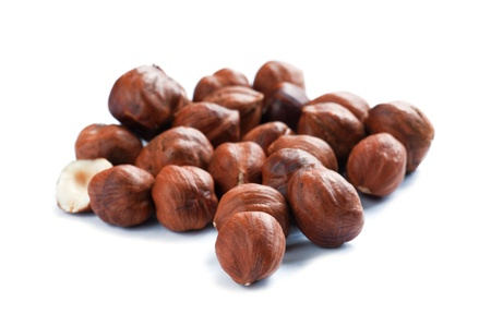 object on white - food hazelnut close up photo