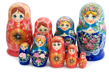 object on white - toy wooden doll matrioshka photo