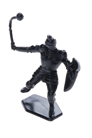 pretend: object on white - plastic toy knight Stock Photo